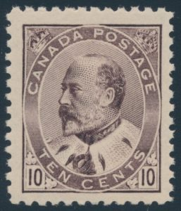 Lot 252, Canada 1903 ten cent brown lilac Edward VII, XF NH