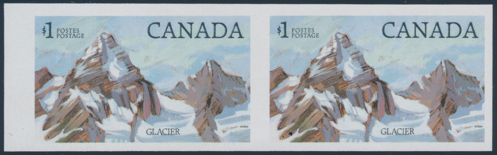 Lot 375, Canada 1984 $1 Glacier National Park imperf horizontal pair, XF NH, sold for C$3,680