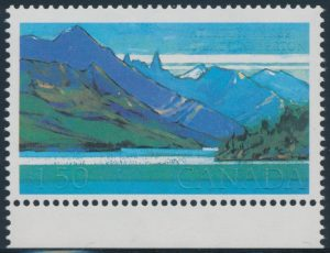 Lot 376 Canada #935a 1982 $1.50 Waterton Lakes with Black Inscriptions Omitted