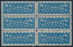 Lot 471, Canada 1876 eight cent blue Registered in block of six, VF mint