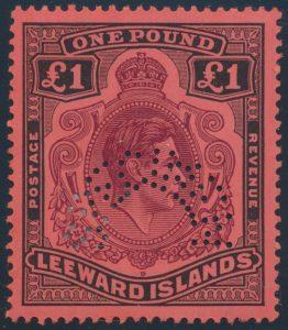 Lot 628, Leeward Islands 1938 KGVI mint set with curved SPECIMEN, £1 high value