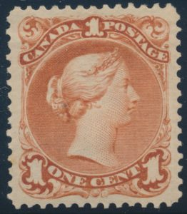 Lot 69, Canada 1868 one cent brown red Large Queen, VF o.g.
