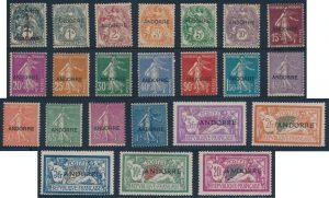 Lot 702, French Andorra 1931 mint overprint set