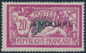 Lot 702, French Andorra 1931 mint overprint set, 20fr high value