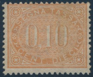 Lot 733, Italy 1869 ten cent buff Postage Due, mint NH