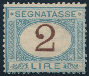 Lot 734, Italy 1870 two lira light blue and brown Postage Due, Fine NH