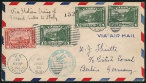 Lot 825, 1933 Balbo Flight Cover to Germany, Shediac to Rome to Berlin