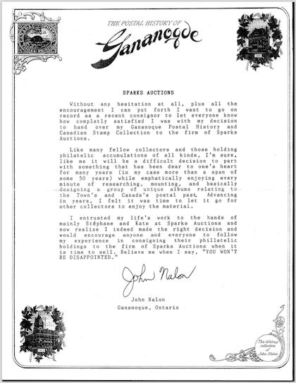 Letter from John Nalon
