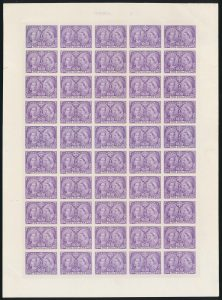 Lot 195, Canada 1897 two dollar Jubilee plate proof sheet in dark purple on card, sold for C$10,925