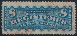Lot 472, Canada 1876 eight cent blue Registered, London c.d.s. receiver, earliest known use, sold for C$6,900