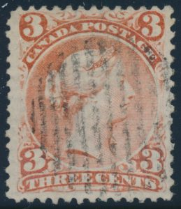 Lot 109, Canada 1868 three cent red Large Queen on laid paper, F-VF used, sold for C$1,840