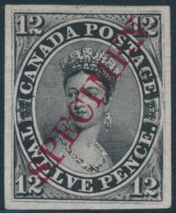 Lot 11, Canada 1851 twelve penny black plate proof with SPECIMEN, sold for C$4,370