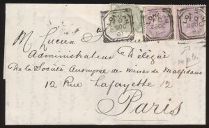 "Ex-Lot 1191, LONDON squared ""fancy geometric"" postmark collection, sold for C$1,150"