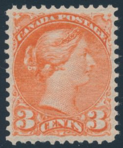 Lot 140, Canada 1890s three cent vermilion Small Queen, VF NH, sold for C$287