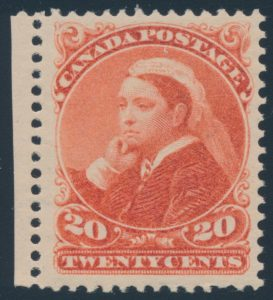 Lot 158, Canada 1893 twenty cent vermilion Widow Weeds, VF NH, sold for C$1,725