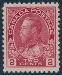 Lot 271, Canada 1911 two cent pink Admiral, VF NH, sold for C$517