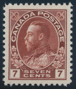 Lot 283, Canada 1924 seven cent red brown Admiral, XF NH, sold for C$184