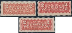 Lot 444, Canada 1887-88 two cent Registration stamps group, sold for C$718