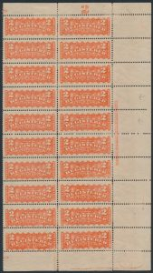 Lot 454, Canada 1880s two cent orange red Registration stamp, mint plate block of 20, sold for C$1,150