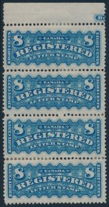 Lot 470, Canada 1876 eight cent blue Registration marginal vertical strip of four sold, mint F-VF, sold for C$2,875