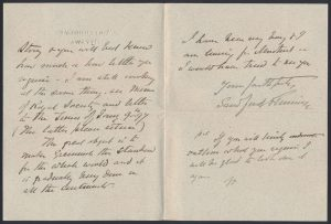 Lot 802, contents of letter from Sir Sandford Fleming to Henry Morgan, sold for C$1,265