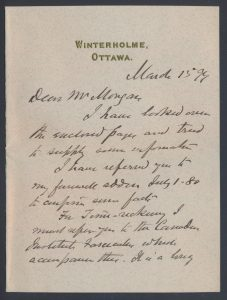 Lot 802, first page of letter from Sir Sandford Fleming to Henry Morgan, sold for C$1,265