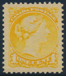 Lot 112, Canada 1890s one cent yellow Small Queen, XF NH, sold for C$196