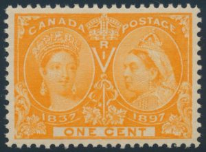 Lot 169, Canada 1897 one cent yellow orange Jubilee, XF NH, sold for C$109