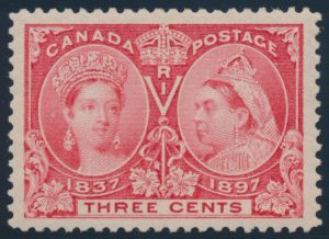 Lot 172, Canada 1897 three cent bright rose Jubilee, XF NH, sold for C$109