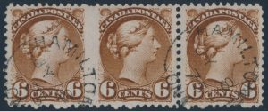 Lot 186, Canada 1875 six cent brown Small Queen, perf 12 used strip of three, Hamilton postmark