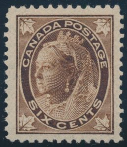 Lot 211, Canada 1897 six cent brown Leaf, XF NH, sold for C$431