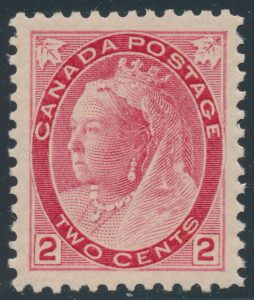 Lot 225, Canada 1899 two cent carmine Numeral, XF NH, sold for C$460