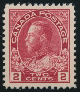 Lot 269, Canada 1917 two cent carmine Admiral, XF NH, sold for C$126