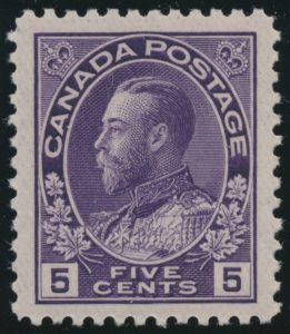 Lot 279, Canada 1924 five cent violet Admiral, thin paper, XF NH, sold for C$138