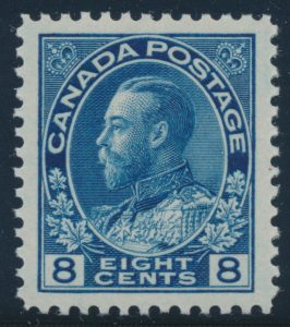 Lot 284, Canada 1925 eight cent blue Admirla, XF NH, sold for C$230