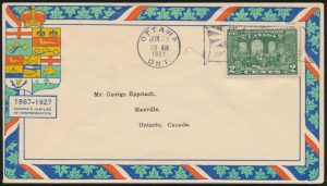 Lot 315, Canada 1927 Fathers of Confederation Epstadt FDC, sold for C$126