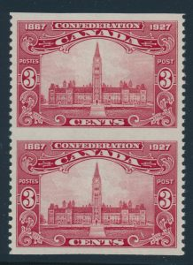 Lot 318, Canada 1927 three cent brown carmine Parliament vertical imperf XF NH pair, sold for C$230