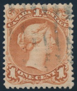 Lot 33, Canada one cent red brown Large Queen on laid paper, F-VF with grid cancel