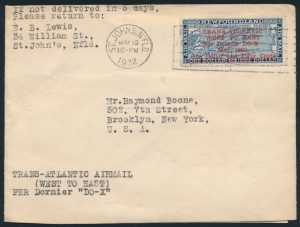 Lot 744, Newfoundland 1932 Dornier DO-X flight cover, St. John's to New York