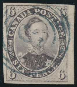 Lot 1150, Canada 1857 six pence reddish purple Consort, F-VF with 4-ring #5