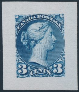 Lot 116, Canada 1870 three cent Small Queen die proof in blue on india