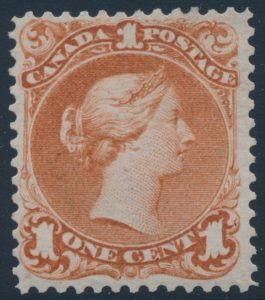 Lot 1180, Canada 1868 one cent brown red Large Queen, NH with F-VF centering