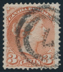 Lot 129, Canada 1870 three cent deep copper red Small Queen, used with 2-ring #7