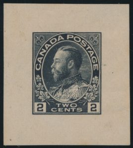 Lot 1386, Canada 1917 two cent Admiral Trial Colour Die Proof in black on wove paper