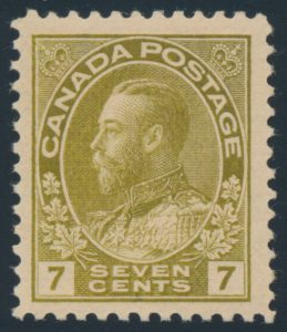 Lot 1466, Canada 1914 seven cent sage green Admiral, XF NH