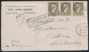 Lot 157, Canada 1887 fifteen cent UPU rate cover to Australia