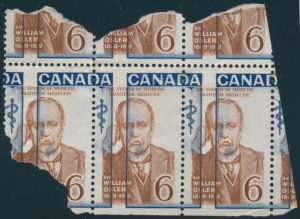 Lot 1695, Canada 1969 six cent Sir William Osler with dramatic shift of blue colour, believed unique