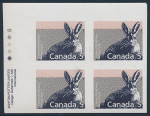 Lot 1726, Canada 1988 five cent Varying Hare imperf plate block, XF