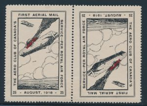 Lot 1744, Canada 1918 25c red and black Aero Club of Canada Toronto to Ottawa, mint hinged tête-bêche pair
