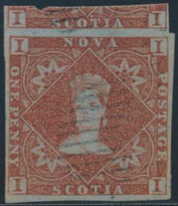 Lot 1808, Nova Scotia 1851 one pence red brown Victoria, VF used with lightcancel